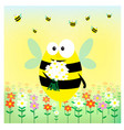 funny bee wuth bouquet on the meadow vector image vector image