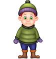 funny boy wearing green jacket cartoon vector image vector image