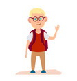 glad albino boy with glasses and knapsack on back vector image