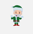 green santa claus makes a gesture of tired vector image vector image