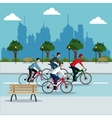 group person young riding bike park city vector image vector image