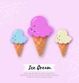 ice-cream cones in paper cut style origami vector image vector image