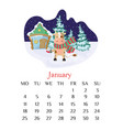 january calendar page 2021 with bull outdoor vector image vector image