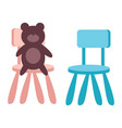 kids toy teddy bear sitting on chair on white vector image vector image