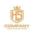 letter hs initial logo luxury logo design vector image vector image