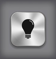 Light bulb icon - metal app button vector image