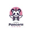 logo panda unicorn simple mascot style vector image vector image