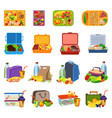 lunchbox icons set cartoon style vector image