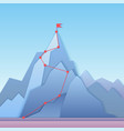 mountain climbing route to peak business progress vector image