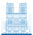 Outline Notre Dame Cathedral vector image