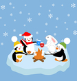 Penguins and white rabbit fried marshmelou vector image vector image