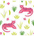 pink tiger seamless pattern vector image vector image