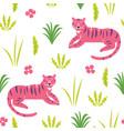 pink tiger seamless pattern vector image