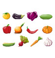 pixel art vegetables on white vector image vector image