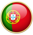 portugul flag on round button vector image vector image