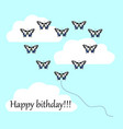 postcard with a happy birthday many butterflies vector image
