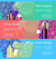 red and white wine promotional internet pages set vector image