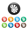 reef shell icons set color vector image vector image
