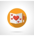 Romantic feelings yellow round flat icon vector image
