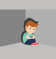 sad boy sitting in a corner vector image