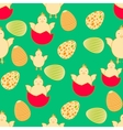 Seamless easter pattern with eggs and chickens vector image vector image