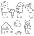 set of family car and house vector image