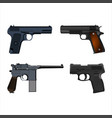 set of realistic pistols isolated on white vector image