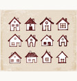 sketch houses on vintage background vector image vector image