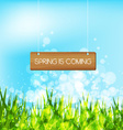 Spring is coming concept with wood sign vector image vector image