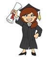Student holding her diploma vector image