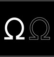 symbol omega icon set white color flat style vector image vector image
