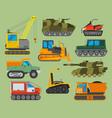 tracked caterpillar excavator tractor vector image
