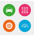 transport icons tachometer and wheel signs vector image