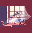 window with cup of hot drink and books vector image