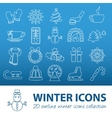 winter outline icons vector image vector image