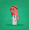 arab boy school pupil holding backpack small vector image