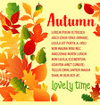 autumn leaf fall greeting poster vector image vector image