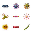 bacteria icons set cartoon style vector image vector image