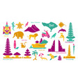 bali indonesia icons set attractions flat vector image vector image