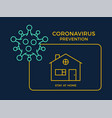 banner stay at home icon prevention coronavirus vector image vector image