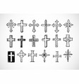 big set doodle sketch crosses on white vector image