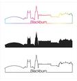 Blackburn skyline linear style with rainbow vector image vector image