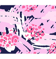 bright pink scribble seamless pattern with flowers vector image vector image