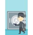 Burglar with gun near safe vector image