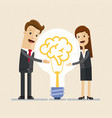 businessman and woman hugs a big lightbulb brain vector image