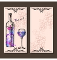 Card with grapes wine on hand-drawing style vector image vector image