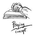 close-up hand praying on bible vector image