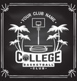 college basketball club badge on the chalkboard vector image vector image
