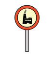 color circle caution emblem factory pollution vector image
