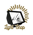 color vintage light shop emblem vector image vector image